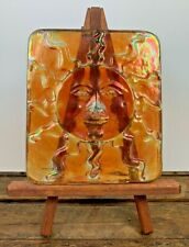 John Cook Iridescent Glass Sun Face Tile Paperweight Signed Dated 2014