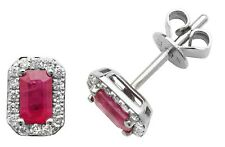 9ct White Gold Ruby and Diamond Earrings NEW