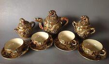 Japan Satsuma Steingut Service Tee- Kaffee- Milch-Kanne Zuckerdose 4x Tasse~1920