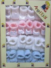 12 BABY BOOTIES KNITTED ARAN STRIPE SATIN PINK BLUE WHITE CREAM GIRLS BOYS GIFT