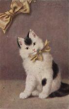 Sperlich signed cute cat kitten with golden ribbon old artist postcard