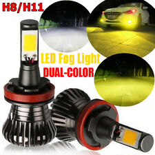 2x 80W H8 H9 H11 LED Fog Light 9600LM DRL Driving Bulb Dual Color White Yellow