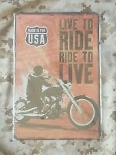 Made In The USA Live To Ride Tin Sign Wall Décor Retro Style Garage Auto Shop