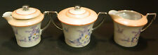 Vintage 3 Pieces of Hand Painted Japanese Cream & Sugar Bowls H in a Flower Exc