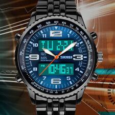 Sunjas LED Herren Uhr Armbanduhr Blau Edelstahl Quarzuhr Wasserdicht Sportuhr