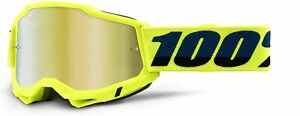 100 Percent Eyewear Accuri 2 Yellow With Mirror Gold Lens Motocross Goggles