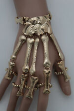 Women Bracelet Gold Metal Hand Chain Slave Ring Skeleton Skull Bones 5 Fingers