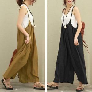 Summer Women Linen Jumpsuit Loose Pants Comfort Baggy Sleeveless Rompers Trouser