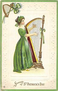 G36/ St Patrick's Day Holiday Postcard c1910 Pretty Woman Harp 14