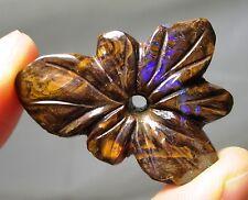 Fine flower orchid Boulder opal carving - 38 carats - Australia