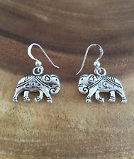 925 Sterling Silver Drop Hook Earrings With Antique Finish Silver Tone Elephant