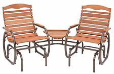 Patio Set Chair Glider Table Pool Yard Porch Wood Metal Bronze Deck Settee