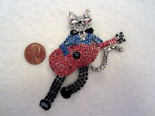Butler & Wilson Cool Cat Playing Guitar Pin Crystal Signed Vintage B&W Mint!