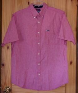 Chaps Red & White Check Short Sleeve Cotton Blend Dress Shirt, Men's L
