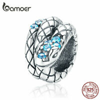 BAMOER European S925 Sterling silver Charms Retro Snake Bead Fit Women Bracelet