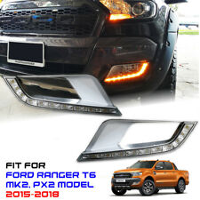 Chrome Fog Light Cover Orange Light LED Fit Ford Ranger Mk2 XLT 15-2018 Wildtrak