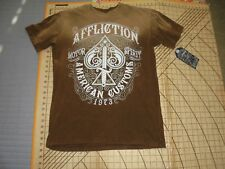 MENS AFFLICTION MEDIUM TAN/BROWN/WHITE STRESSED SHIRT - NWT