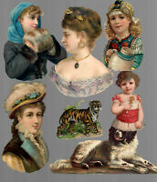 VICTORIAN DIE CUT SCRAP LOT OF 7 FIGURES PEOPLE DOG TIGER