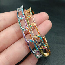 18k gold Filled colorful cubic zirconia micro pave geometries bangle ring