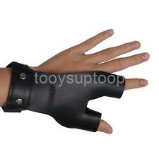 Archery Hunting Shooting Cow Leather 2 Finger Glove Hand Protector Guard Blk
