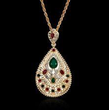NEW Semi Precious Multi Colour Stones Gold Plated PEAR shaped Pendant Necklace