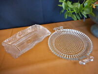 Vintage Lot of Glass Dishes Clear Wedding Vintage White Flea Market Country