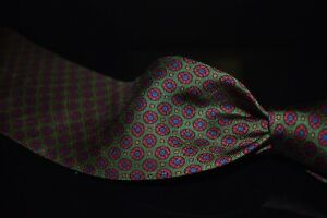 Polo Ralph Lauren Made in Italy Green Neat Blue Red Madder Roundel Neat Silk Tie