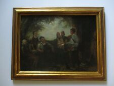 ANTIQUE 19TH CENTURY PAINTING PORTRAIT MAIL MAN BOY DELIVERY LANDSCAPE MYSTERY