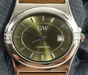 Gems TV 4 Diamond Adorned Stainless Date Green Wristwatch w/Genuine Leather Band