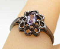 925 Silver - Vintage Amethyst Floral Design Dark Tone Cocktail Ring Sz 6 - R9263