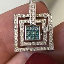 18k diamond pendant 1 ctw fancy blue diamonds 750 14k white gold 4.3g pave halo