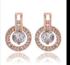 On Trend 18K Rose Gold Plated Austrian Crystal Dangle Hoop Stud Circle Earrings