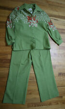 Women'S Vintage Pants, Top, Jacket Outfit - Green - Leslie Fay Knits - Size M/L