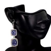 Unheated Antique Blue Tanzanite 14x10mm Emerald Cz 925 Sterling Silver Earrings