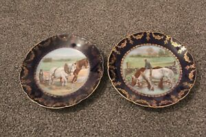 2 x  VINTAGE PLATES with FARMING SCENES  (8 3/8 ins - 21.25cm in diameter)