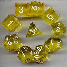RPG Dice 10pc - Translucent Yellow w/White- 1 @ D4 D8 D10 D12 D20 D00-10 & 4 D6