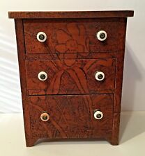 "RARE ANTIQUE FLEMISH ART PYROGHRAPHY SMALL CHEST OF DRAWERS 3 DRAWERS 13 1/2"" T"