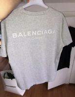 BALENCIAGA HOMME⚡️Men's gray cotton  graphic logo tee shirt size Large