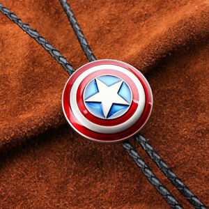 American Captain Mens BOLO Tie Slide Clip PU Leather Rope Vintage Western Cowboy