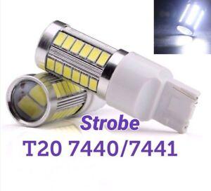 Strobe Flash T20 7440 W21W 992 SMD White LED Bulb Rear Turn Signal Light M1 NI M