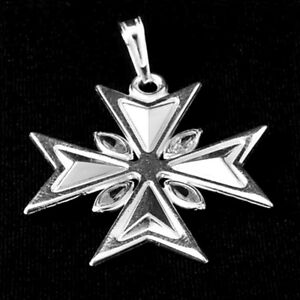SALE! Amalfi Maltese Cross Hallmarked Sterling Silver 925 Pendant with Crystals