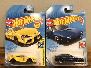 Hot Wheels - '20 Toyota GR Supra (Yellow) & '89 Mazda Savanna RX-7 (Blue) - LOT