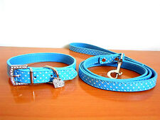 Bling Rhinestone Heart Pendants Blue Pu Leather Pet Dog Collar+Leash lead Set