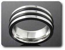 Ring Herren Doppelt Line Schwarz Stahl Größe 51, 53 & 56