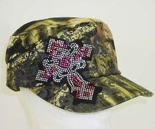 441dc381d3095 NEW Camo Pink Crystal Distress Bling Rhinestone Cross Cadet Hat Women    Junior