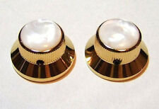 Guitar Parts METAL TOPHAT Skirt KNOBS 1/4in Hole - PEARL TOP - Set of 2 - GOLD