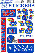 Kansas Jayhawks Vinyl Die-Cut Sticker Decals - 18 per sheet