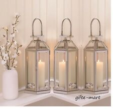 "10 Silver 13"" tall Candle holder Lantern Malta lamp floral wedding centerpiece"