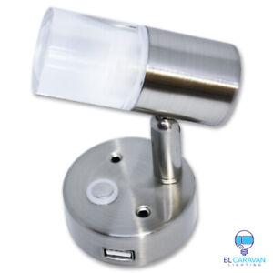 Boat Round Base Reading Dimmable Touch Led light USB Port -12V 24V x2
