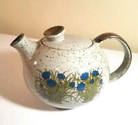 Takahashi speckled stoneware Grey Blue Flowers Floral Round Tea Pot